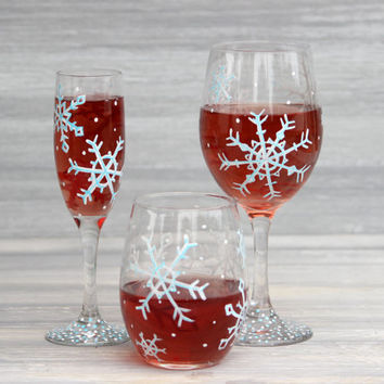 Set of 4 Snowflake Wine Glasses / Hand Painted Wine Glasses