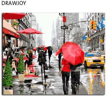 DRAWJOY New Framed Wall Art Pictures Painting By Numbers Of City DIY Canvas Oil Painting Home Decor For Living Room GX8091