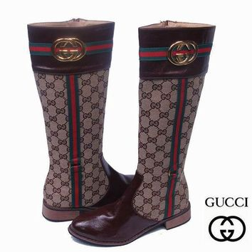 GUCCI Fashion Leather Chain Boot Heels Shoes
