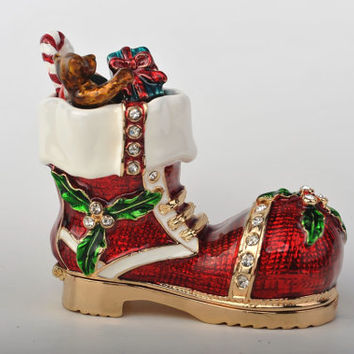 Christmas Boot Faberge Styled Trinket Box Handmade by Keren Kopal Enamel Painted Decorated with Swarovski Crystals Gold Plated