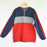 Tommy Hilfiger Sweatshirt Pique Cotton Crew Neck Spell out Tommy Jeans Sleeve/ Zipper Color Block Nubby Cotton 90's Tommy Jeans Top Size L