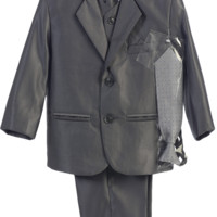Pewter Grey Metallic 6 Pc Formal Dress Suit (Boys 6 months - size 14)