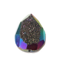 Metallic Sheen Pink  Purple Gold Blue Titanium Drusy Druzzy Agate Gem Drilled Rock  Pendant Flat Back