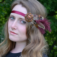 Natural Festival Beaded feather Headband Headdress, Boho, Chic