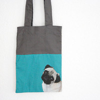Pug Bag, small grey and turquoise tote bag, pug lovers gift idea