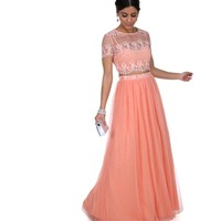 Clea- Coral Two Piece Prom Dress
