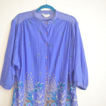 1970's Vintage Periwinkle Blouse / Drapey Sheer Loose Crepe Celestial Shirt / Button Up Polyester Top / Lady Winn California by Teddi