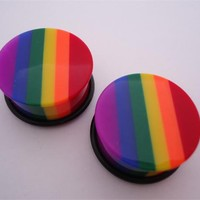 Rainbow Striped Plugs (6 gauge - 1 inch)