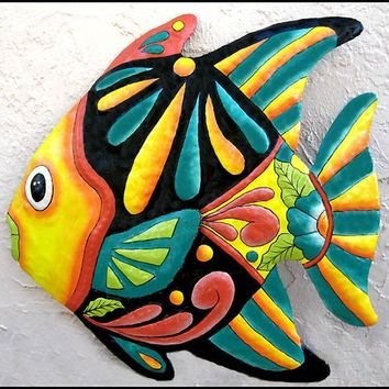 Tropical Fish - Haitian Painted Upcycled Metal Garden Art - 24 inch - M-801-YL-24