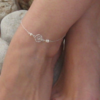 Dream Catcher Anklet, Sterling Silver Ankle Bracelet, White Freshwater Anklet, Beach Foot Jewelry, Bridesmaid Jewelry, Summer Body Jewelry