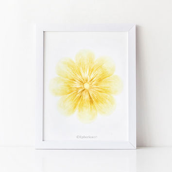 Yellow flower digital art print, Pastel yellow Home decor wall art Printable print, Bedroom decor Flower print, Yellow wall decor art print