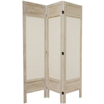 Oriental Furniture FJ-SFMUS-3P-BWHT 5 1/2 Ft. Tall Solid Frame Fabric Room Divider Burnt White Three Panel, Width - 51.75 Inches