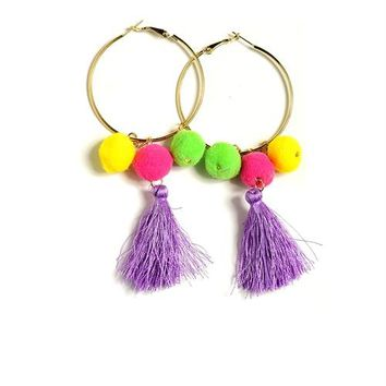 Triple Pom Pom Tassel Earrings