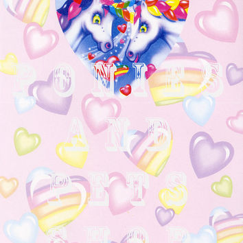 Vintage Lisa Frank Stationery Sheet Heart Unicorns Design