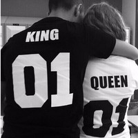 Cute letters full color Couples T-shirt