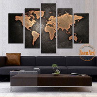 5 Panel Vintage World Map Canvas Painting Prints On Canvas Wall Art Picture Home Decoration for Living Room Unframed