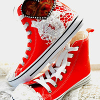 Embellished red High top, Romantic shoes, Shabby country chic lace pearl shoes, Street chic funky shoes, spring 2015, True rebel clothing