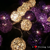 Purple Tone Set Rattan Ball String Lights For Wedding and House decoration (20 Flowers/Set)