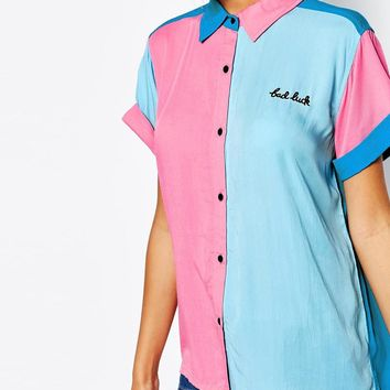 Lazy Oaf | Lazy Oaf Short Sleeve Bowling Shirt With Bad Luck Slogan at ASOS