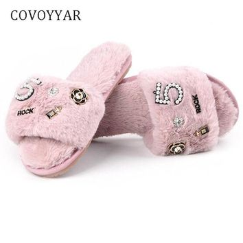 COVOYYAR Chic Winter Women Slippers Flat Soft Home Slippers Slides Shoes Women Anti-Slip Bedroom Shoes Sizes 35-42 WSL609