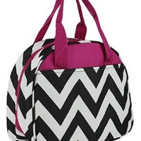 Chevron Print Insulated Canvas Lunch Tote Bag (Black / Fuchsia)