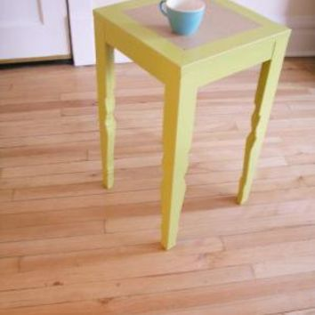 chartreuse vintage style tea table by uncommon on Etsy