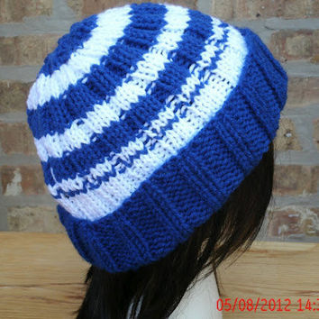 Hand Knit Hat - The School Spirit Beanie - Unisex Hat -School Colors -  Fall, Winter Accessories
