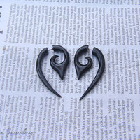 Horn Earring Fake Gauge, Black Tribal Fake Taper, Fake Gage Horn, Fake Plugs Eco Friendly Jewelry FGH-0005