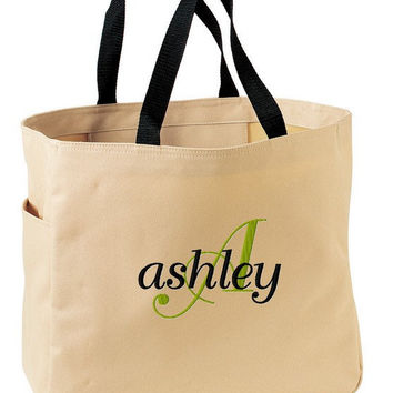 Monogrammed Tote Book Bag Knitting Crochet Teacher Bridesmaid Great Mothers Day Gift Personalized Embroidered