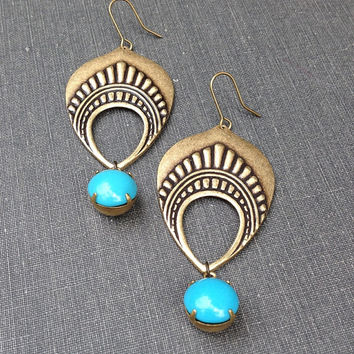 aqua blue vintage rhinestone and brass tribal feather teardrop chandelier earrings indian batik inspired statement earrings