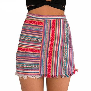 Simplee Apparel vintage high waist women mini skirt 2016 summer new style bodycon pencil skirt Ethnic striped short girls skrits