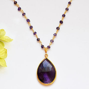 Large Natural Purple Amethyst  Vermeil Gold bezel set wire wrapped necklace - Large Gemstone necklace - February Birthstone
