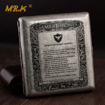 MR.K S019 Game Of Thrones Night Watcher Swear & Seven Kingdom Map Old Silver Male Brass 20 Regular Cigarette Case Box Smoke Box
