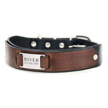 "Custom Leather  Dog Collar  -- Black and Brown Leather with a Stainless Steel  Pet ID Tag,  Personalized  Engraved Nameplate, 1.5"" Wide"