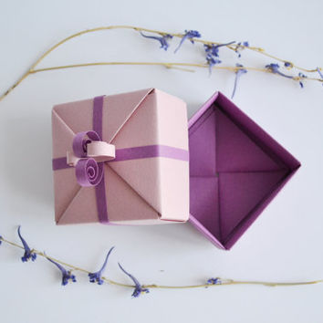 Set of 2 Small Pink and Lilac Origami Gift Boxes with Paper Ribbon Ornaments