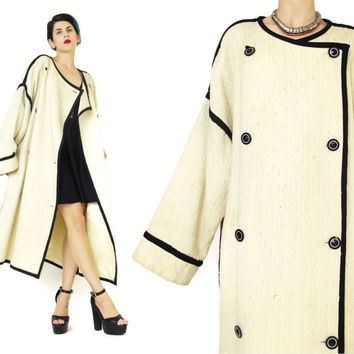 Vintage 1950's Coat Cream Wool Coat Black and White Coat Striped Piping Double Breasted Coat Plus Size Nubby Textured Winter Coat (L/XL)