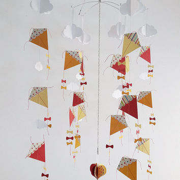 Baby Mobile - Kites and Clouds hanging mobile- Perfect for the playroom or Nursery- 8 x Strings