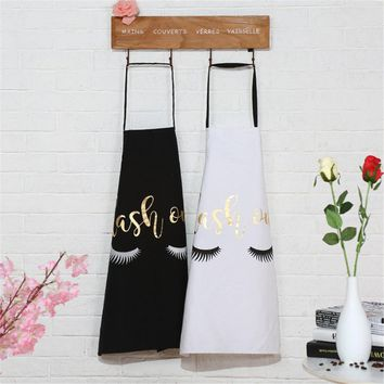 Lovely Bronzing Eyelash Pattern Kitchen Apron Women Adult Home Cooking Baking Cleaning Aprons Bibs Kitchen Tools Accessories