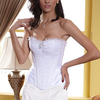 White Strapless Ruffled Ruched Corset Top