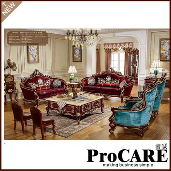 Hand carved Luxury French Baroque Style Living Room Classic Royal fabric Sofa Set 1+2+3