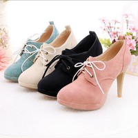 Women's Lace-up High Heel Shoes