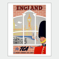 Fly To England Vintage Travel Poster Print