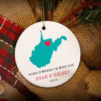 Home Is Where You Are Custom State Personalized Christmas Ornament!