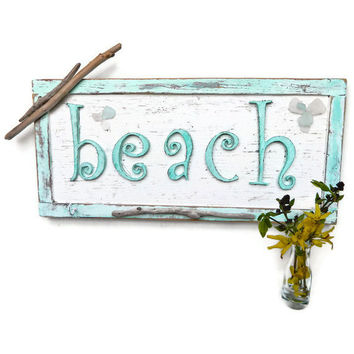 Aquamarine Vintage Beach Sign With Hanging Hooks Hand Painted Unique Beach House Decor
