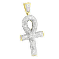 New Gold Ankh Cross Pendant 14K Over 925 Silver Iced Out