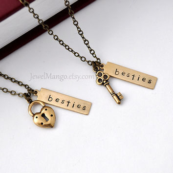 best friend necklace friendship necklace bff, key and lock necklace, gift for BFF, besties