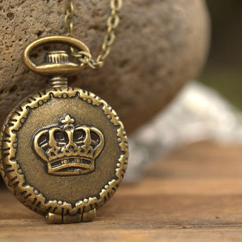 White Rabbit Pocket Watch, Alice in Wonderland Stop Watch Necklace, Time Necklace, Time Piece, Antique Bronze Pocket Watch, Cosplay Costume