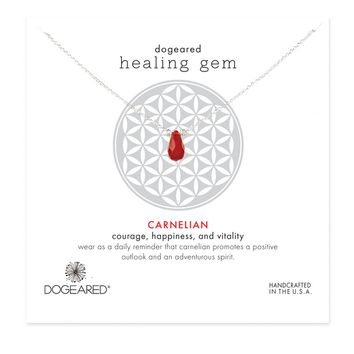 dogeared healing gem carnelian necklace, sterling silver