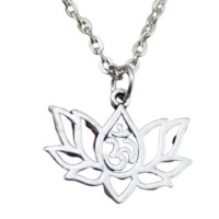 21x17mm Lotus Yoga Om Pendant Necklace