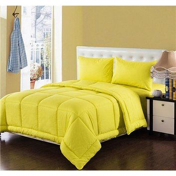 Tache 4 Piece Solid Sunny Yellow Box Stitched Comforter Set (3-4PCOM-BOXES-Yellow)